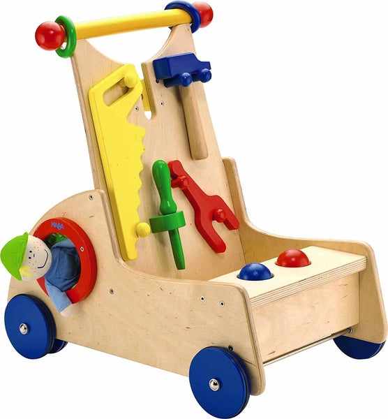 Walk Along Tool Cart - Wooden Activity Push Toy For Ages 10 Months & Up