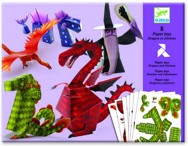 Dragon And Chimera Folding Paper Toys-Kidding Around NYC