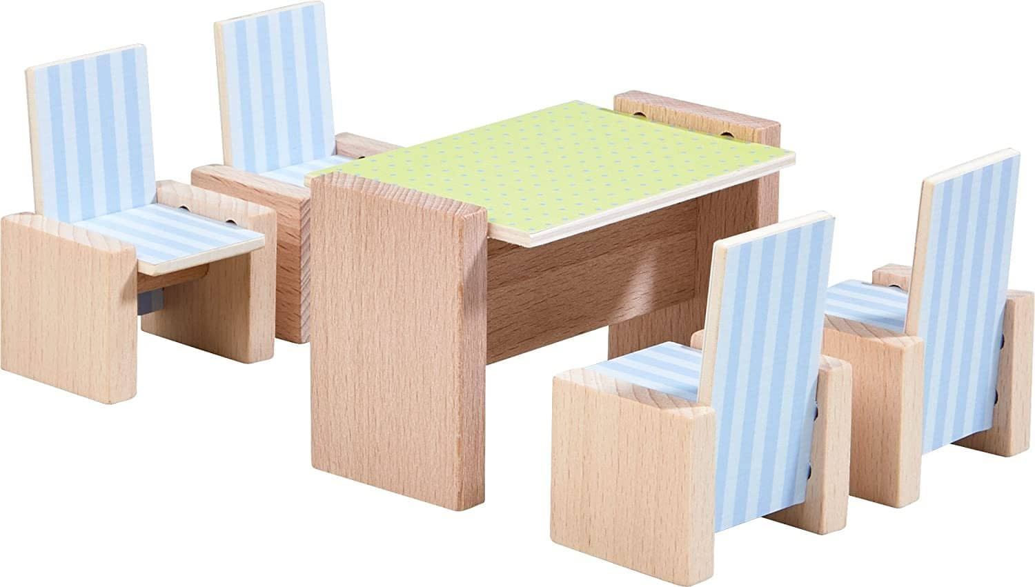 "Little Friends Dining Room - Wooden Dollhouse Furniture For 4"" Bendy Dolls-Kidding Around NYC"