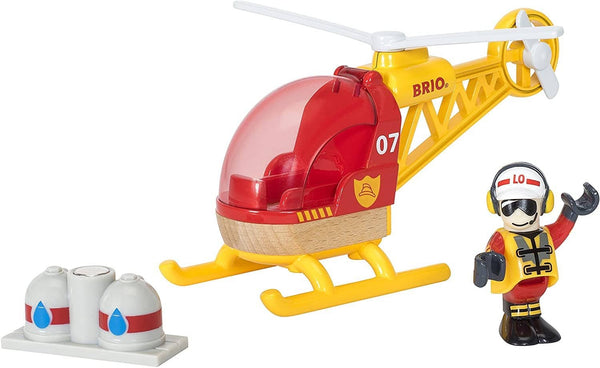 BRIO World - 33797 Firefighter Helicopter | 3 Piece Helicopter Toy for Kids Ages 3 and Up