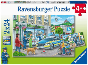 Ravensburger 05031 Police At Work! (Two 24 Piece Jigsaw Puzzles)-Kidding Around NYC