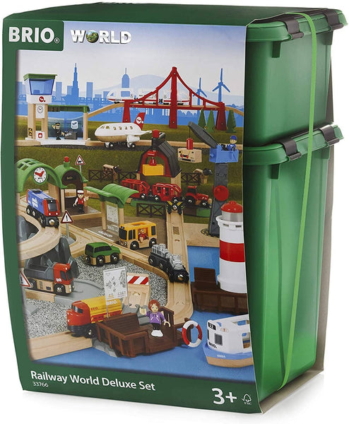 Brio World 33766 Railway World Deluxe Set | Wooden Toy Train Set For Kids Age 3 & Up-Kidding Around NYC