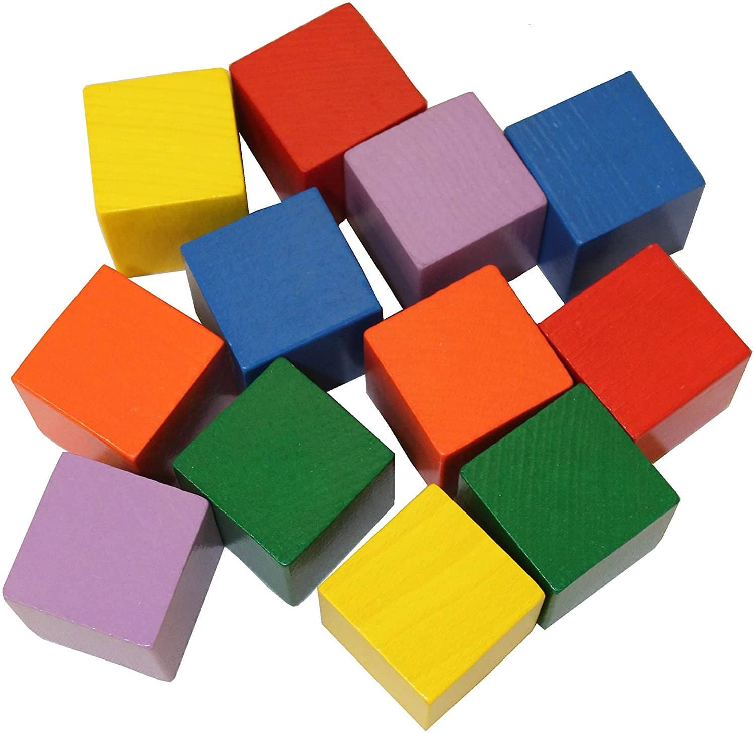 Babys First Basic Block Set - 12 Colorful Wooden Cubes (Made In Germany)-Kidding Around NYC