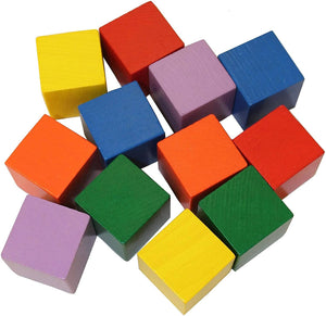 Baby's First Basic Block Set - 12 Colorful Wooden Cubes (Made In Germany)-Kidding Around NYC