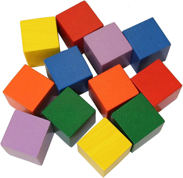 Baby's First Basic Block Set - 12 Colorful Wooden Cubes (Made In Germany)