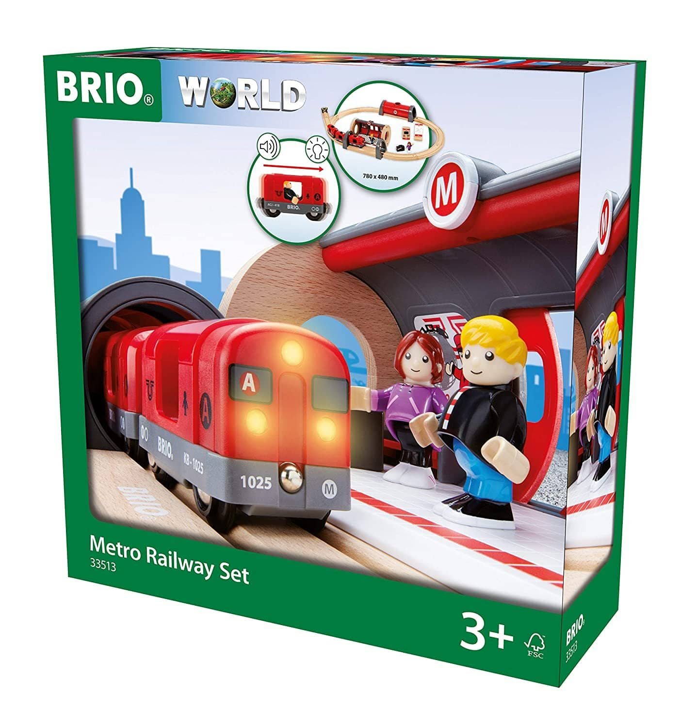 Brio 33513 Metro Railway Set | 20 Piece Train Toy With Accessories And Wooden Tracks For Kids Age 3 And Up-Kidding Around NYC