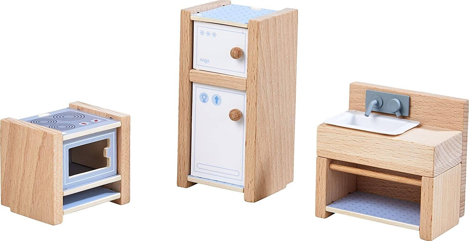 "Little Friends Kitchen Room Set - Wooden Dollhouse Furniture For 4"" Bendy Dolls-Kidding Around NYC"