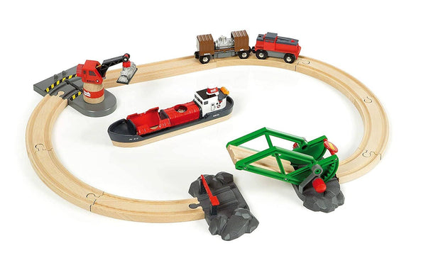 BRIO World - 33061 Cargo Harbor Set | 16 Piece Toy Train with Accessories and Wooden Tracks for Kids Ages 3 and Up