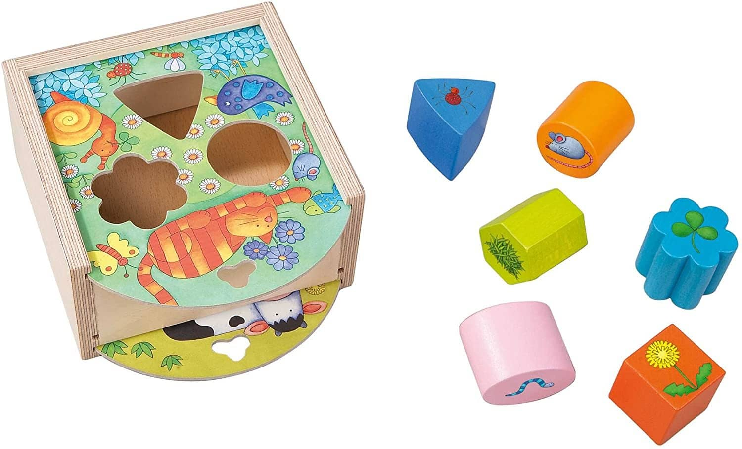 Animals Sorting Box - Wooden Shape Sorter And Matching Toy For Ages 1 And Up (Made In Germany)-Kidding Around NYC