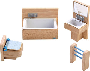 "Little Friends Bathroom Set - Wooden Dollhouse Furniture For 4"" Bendy Dolls-Kidding Around NYC"