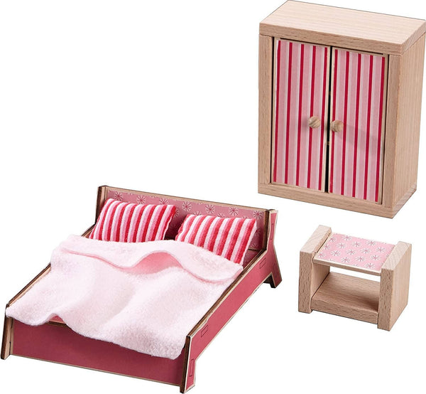 HABA Little Friends Master Bedroom - 3 Piece Furniture Set with Parent's Bed Armoire and Nightstand
