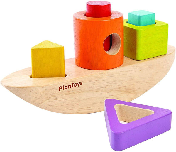Recycled Wood 7-Piece Sorting and Stacking Boat Playset by PlanToys