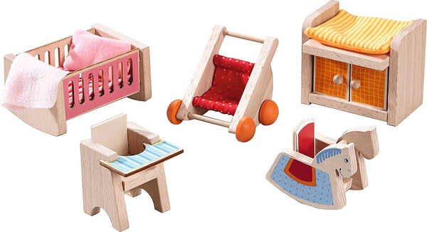 "HABA Little Friends Children's Nursery Room - Dollhouse Furniture for 4"" Bendy Dolls"