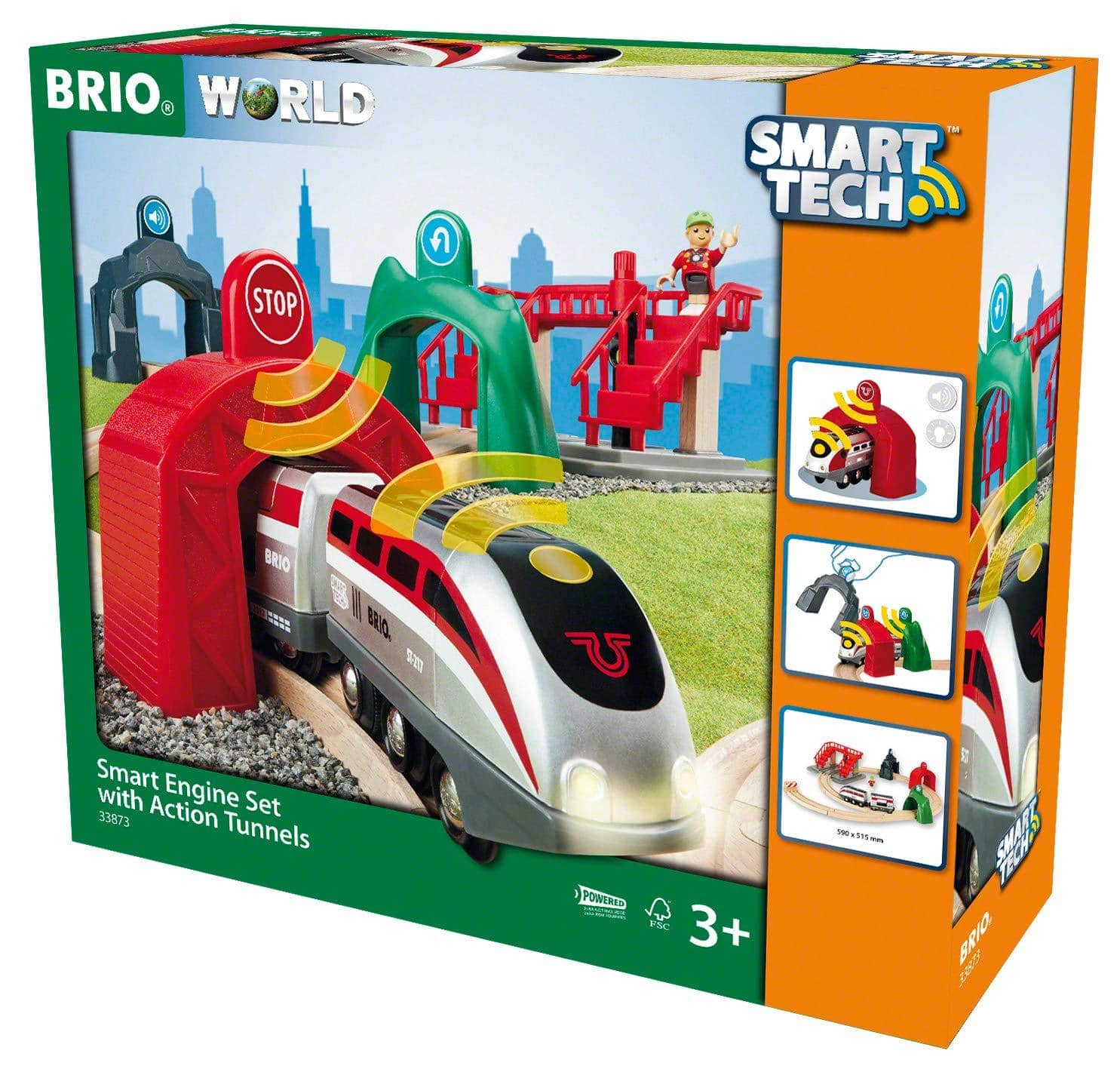 Brio World Smart Tech 33873 - Large Smart Engine Set With Action Tunnels, Includes 17 Pieces, Smart Engine And Tunnels, Wooden Tracks For Wooden Train, Railway-Kidding Around NYC
