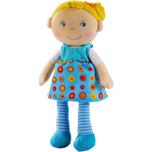 "HABA Snug Up Edda - 10"" Soft Doll with Fuzzy Blonde Hair, Embroidered Face and Removable Blue Dress (Machine Washable) for Ages 18 Months +"