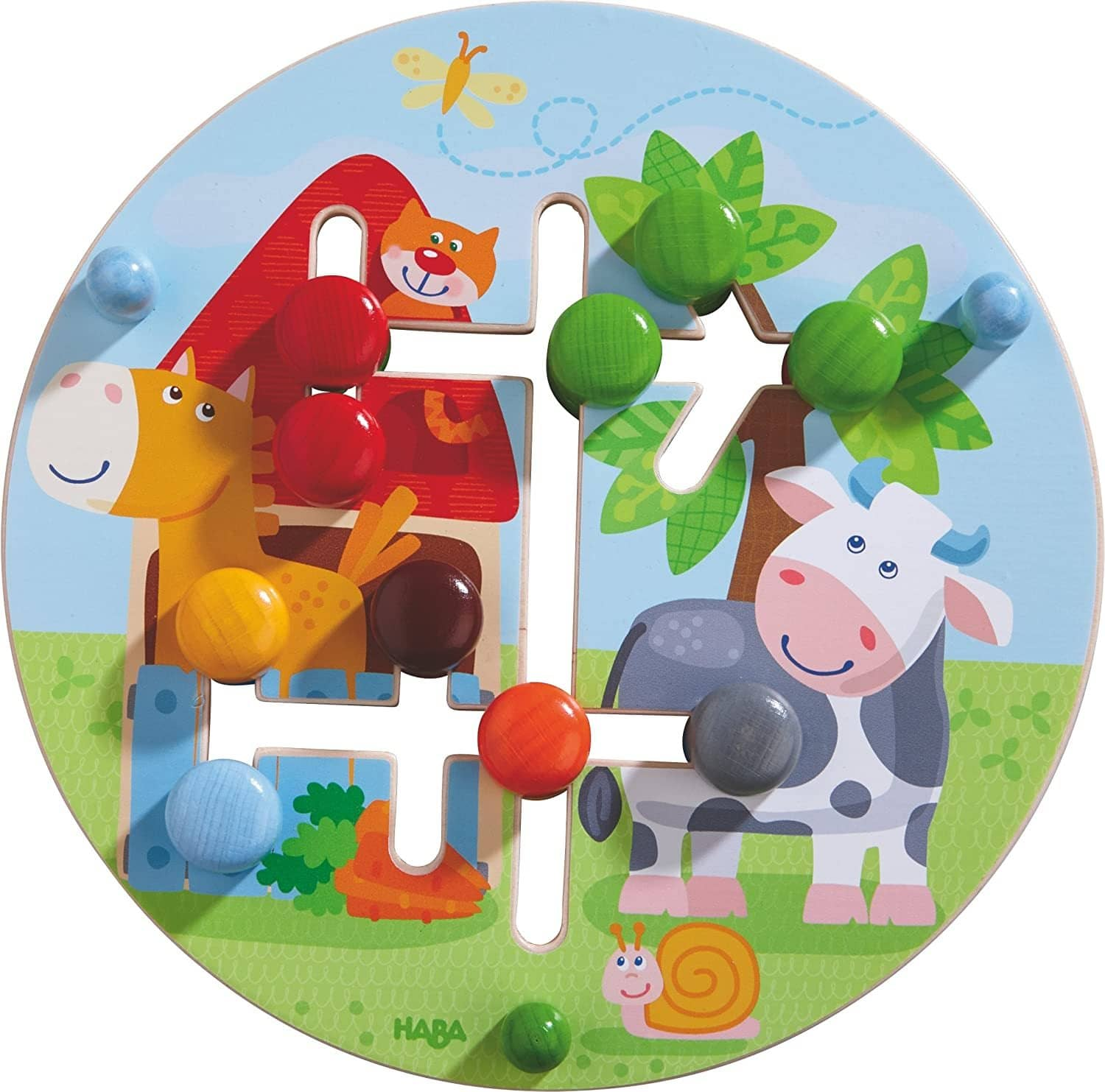 Motor Skills Board On The Farm - Double Sided Wooden Color And Shape Recognition Fun Ages 1 +-Kidding Around NYC