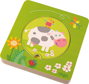 On The Farm 5 Piece Wooden Puzzle with Layered Disks-Kidding Around NYC