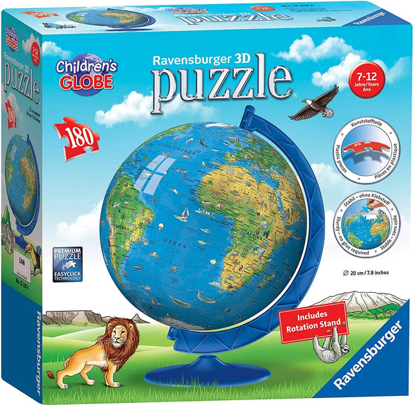 Ravensburger Children's World Globe 180 Piece 3D Jigsaw Puzzle For Kids And Adults - Easy Click Technology Means Pieces Fit Together Perfectly