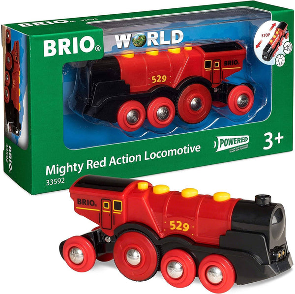 Brio World 33592 Mighty Red Action Locomotive | Battery Operated Toy Train with Light and Sound Effects for Kids Age 3 and Up