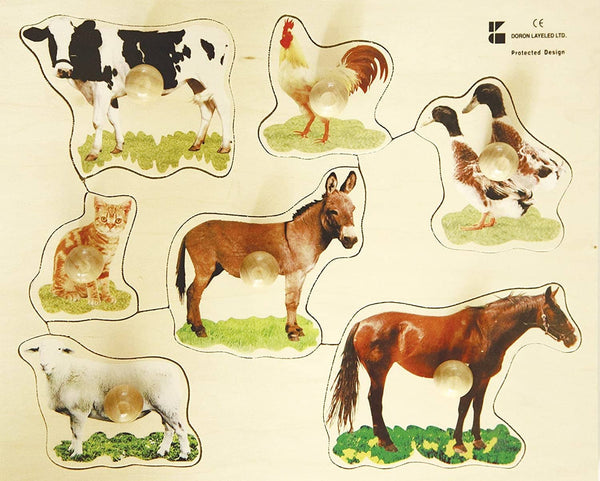 Farm Animals Wooden Peg Puzzle-Kidding Around NYC