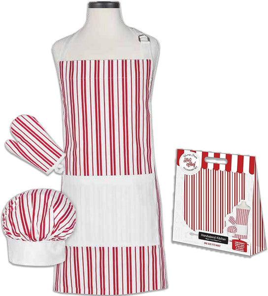 Striped Apron Hat And Glove Set