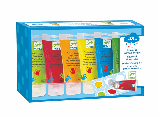 Finger Paint Tubes - 6 Classic Colors