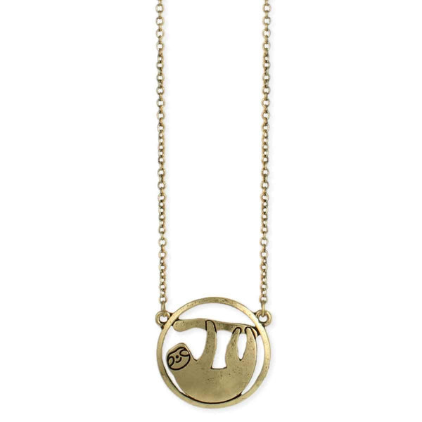 Sloth Circle Necklace