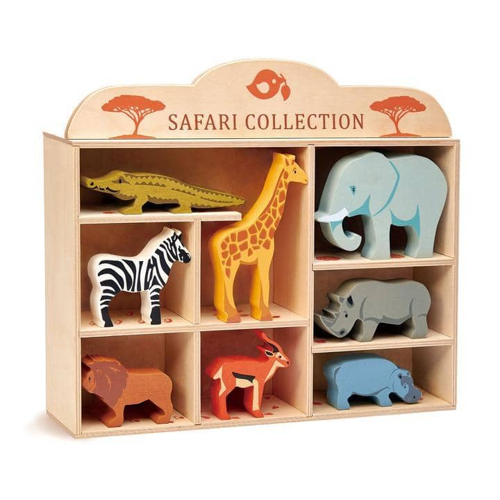 Safari Animal Wooden Figurines & Display Shelf