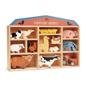 Farmyard Animal Wooden Figurines & Display Shelf