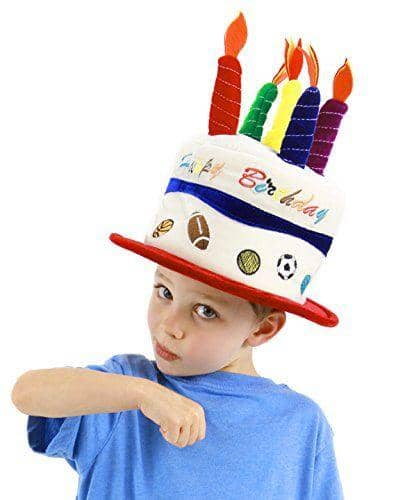 Kid's Birthday Cake Hat With Velcro Candles