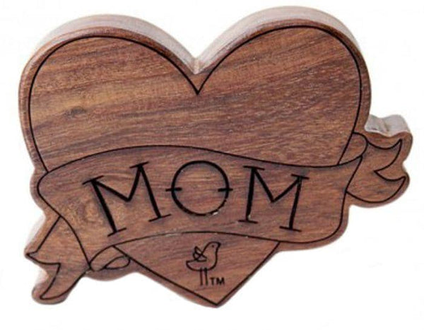 Mom Tattoo Wood Rattle Teether