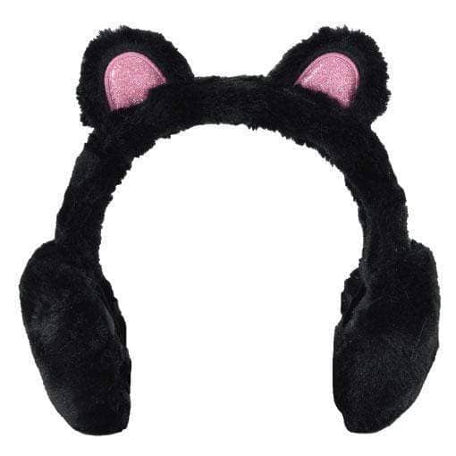 Black Panda With Pink Ear Ear Muffs-Kidding Around NYC