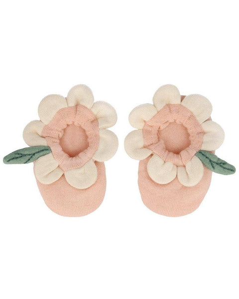 Peach Daisy Baby Booties