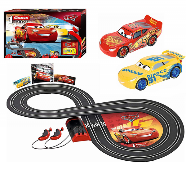 Carrera First Disney/Pixar Cars 3 - Slot Car Race Track - Includes 2 Cars: Lightning Mcqueen And Dinoco Cruz - Battery-Powered Beginner Racing Set For Kids Ages 3 Years And Up-Kidding Around NYC