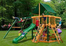 Gorilla Playsets Chateau with Sunbrella Canvas Forest Green Canopy Swing Set