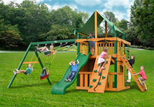 Gorilla Playsets Chateau Clubhouse w/Deluxe Green Vinyl Canopy Swing Set