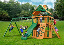 Gorilla Playsets Chateau Clubhouse w/Standard Wood Roof Swing Set