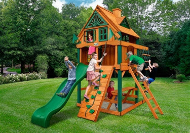 Gorilla Playsets Chateau Tower Treehouse w/Fort Add-on Swing Set