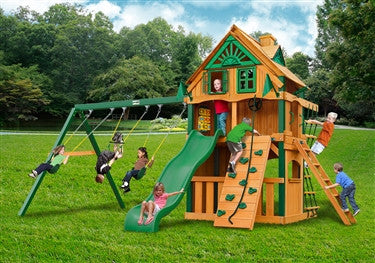 Gorilla Playsets Chateau Clubhouse Treehouse Swing Set w/ Fort Add-On