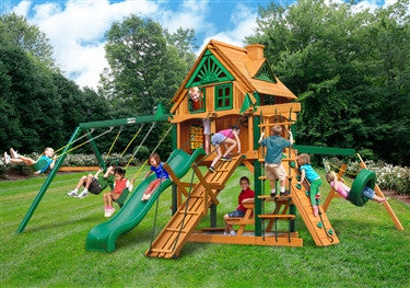 Gorilla Playsets Frontier Treehouse w/Fort Add-on Swing Set