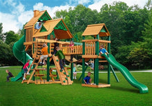 Gorilla Playsets Treasure Trove w/Amber Posts and Standard Wood Roof Swing Set
