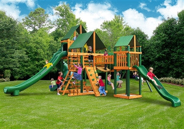 Gorilla Playsets Treasure Trove 2 w/Amber Posts and Sunbrella Canvas Forest Green Canopy Swing Set