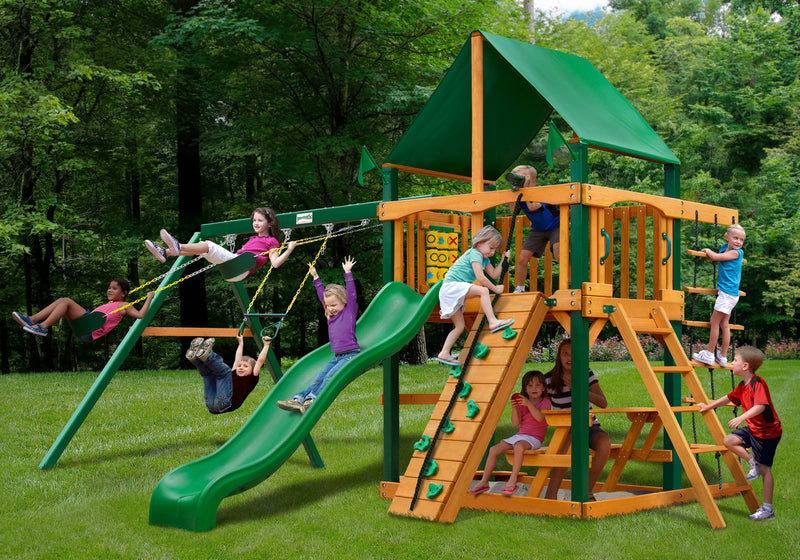Gorilla Playsets Chateau W Deluxe Green Vinyl Canopy Swing Set