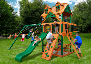 Gorilla Playsets Chateau w/Malibu Wood Roof Swing Set