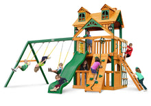 Gorilla Playsets Chateau Clubhouse w/Malibu Wood Roof Swing Set
