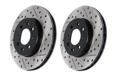 Stoptech Direct Replacement L+R Rotors, Drilled / Slotted, Rear 127.42047 (90-96 NISSAN 300ZX)