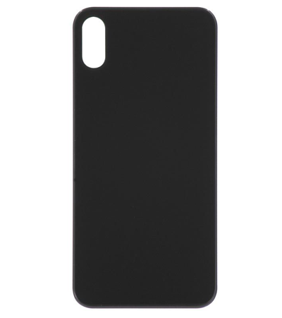 iPhone XS Back Glass No Logo - Black (Large Hole)