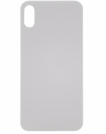 iPhone XS Back Glass No Logo - White (Large Hole)