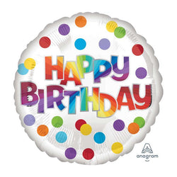 Happy Birthday Rainbow Dots | Foil Balloon