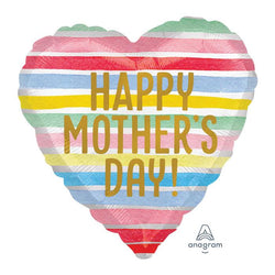 Happy Mother's Day Striped Heart | Foil Balloon